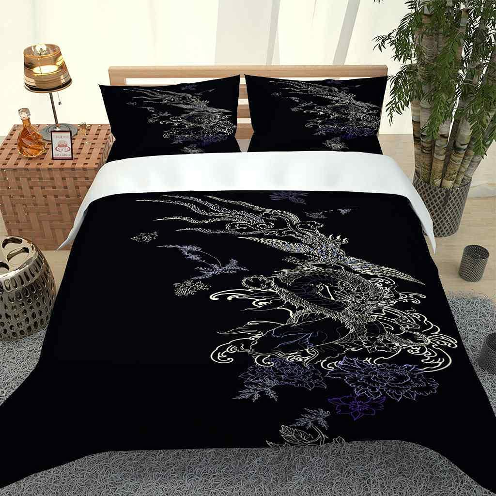 PYCXYI Duvet Cover Set Al sold out. Queen cheap Black Painting Dragon Size Pattern