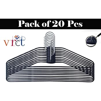 Vrct 20 Pcs Black Heavy Stainless Steel Cloth Hanger with Plastic Coating Set of 20