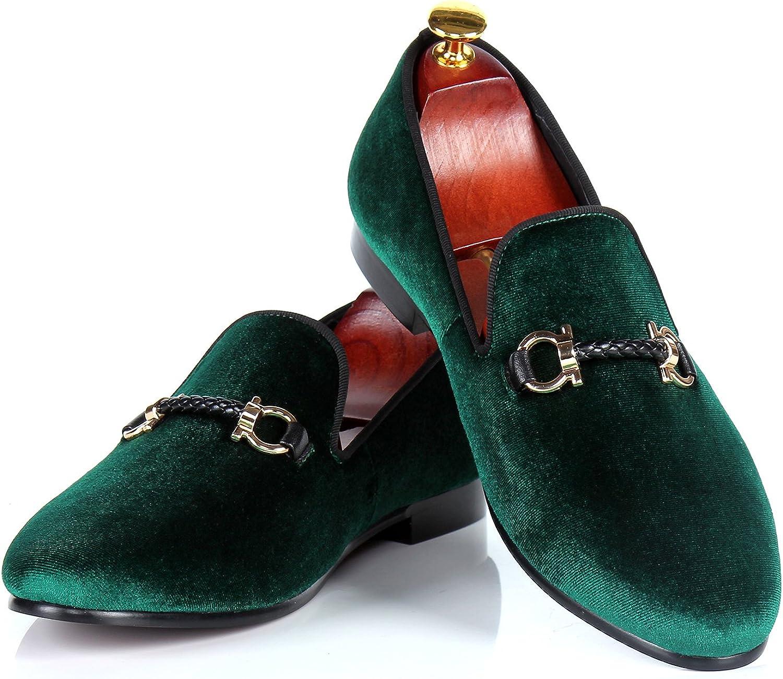 Men Velvet Loafers Handmade Buckle Wedding shoes