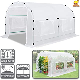 Strong Camel Large Walk-in Plants Greenhouse Portable Garden Hot House w/Combined Cover-White (10' X7'X6')