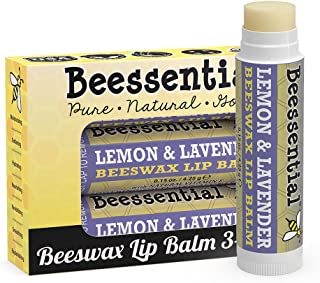 Beessential Beeswax Lip Balm, Lemon Lavender, 3 Count