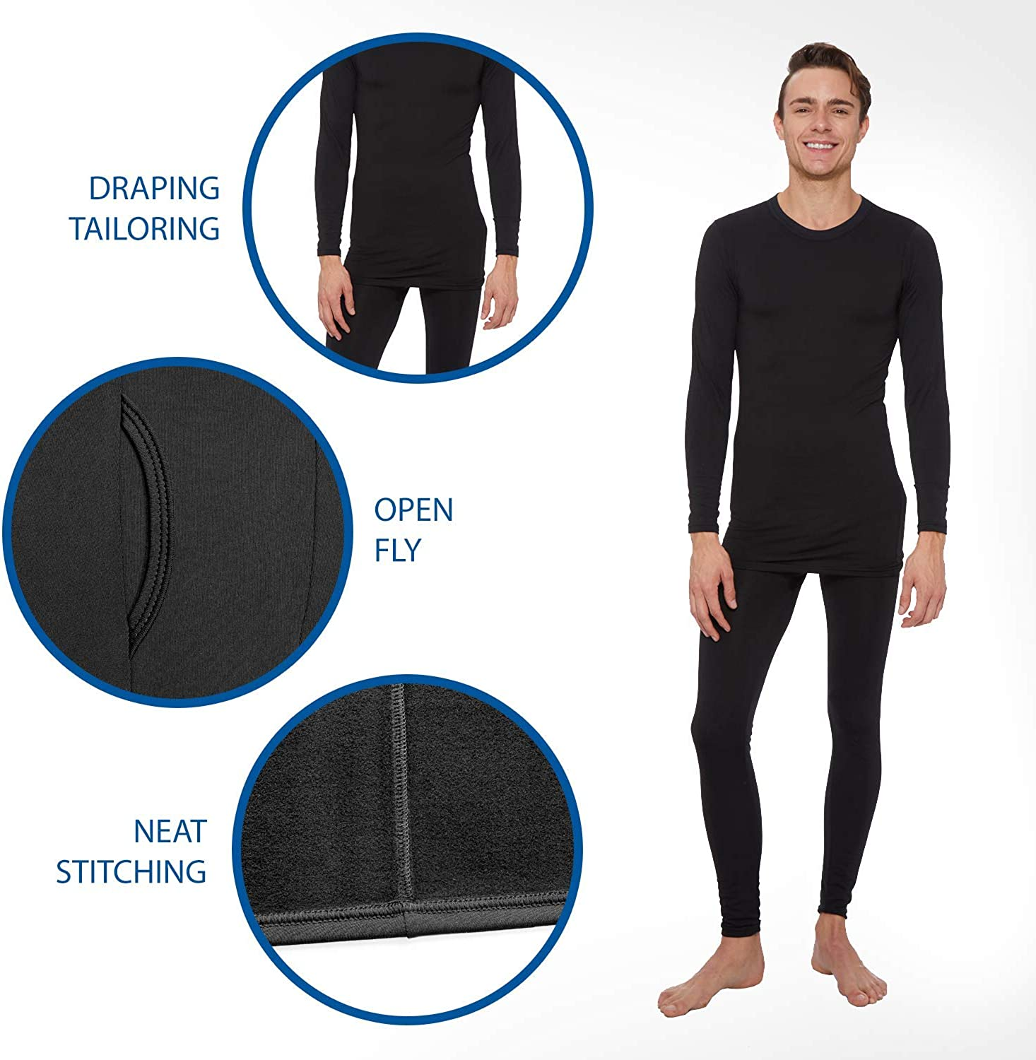 Rocky Men's Thermal Bottoms (Long John Base Layer Underwear Pants) Insulated for Outdoor Ski Warmth/Extreme Cold Pajamas