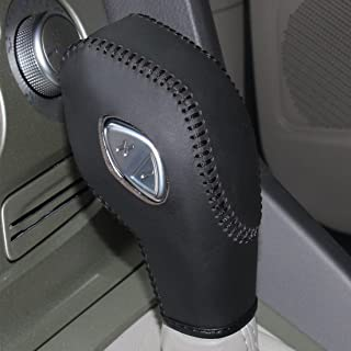 Black Genuine Leather Gear Shift Knob Cover for 2012 2013 2014 2015 2016 Ford Focus / 2014 2015 2016 Ford Fiesta / 2013 2014 2015 2016 Ford Fusion S,Ford Fusion SE / 2013 2014 2015 2016 Ford