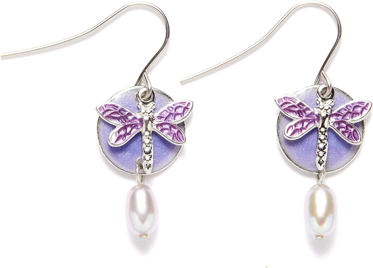 Silver Forest Purple Great interest Dragonfly Layered Earrings Long Beach Mall Dangle