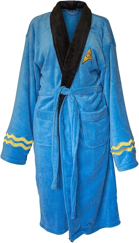 NEW before selling ☆ Star Max 81% OFF Trek Adult Spock Fleece Bath Blue Costume Robe