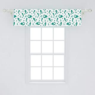 Lunarable Mermaid Window Valance, Watercolor Mermaid Swimming Exotic Fishes Seastars Coral Reef Maritime, Curtain Valance for Kitchen Bedroom Decor with Rod Pocket, 54