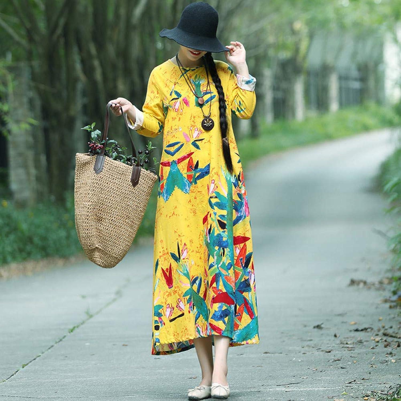 Cxlyq Dresses Autumn Cotton Linen Dress Retro VNeck Buckle Loose Large Size Slim Skirt