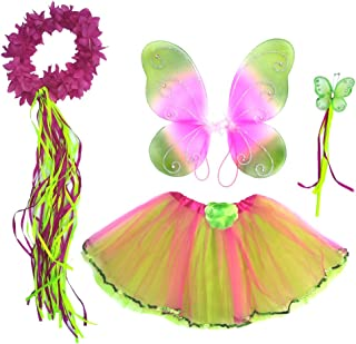 Enchantly Girls Hot Pink and Green - Fairy Costume Dress Up Play - Wings, Tutu, Wand & Halo Fits Age 3-6