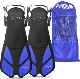 PRODIVE Snorkel and Swim Fins – Adjustable Open-Heel, Short-Blade Snorkeling and Diving Flippers Add Efficiency to Swimmin...