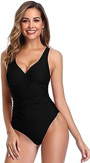 42cf3de2e4 SHEKINI Maillot de Bain Femme 1 Pièce Amincissant Elegant Bikini Rembourré  Ruché Abdominal Contrôle Halter Réglable