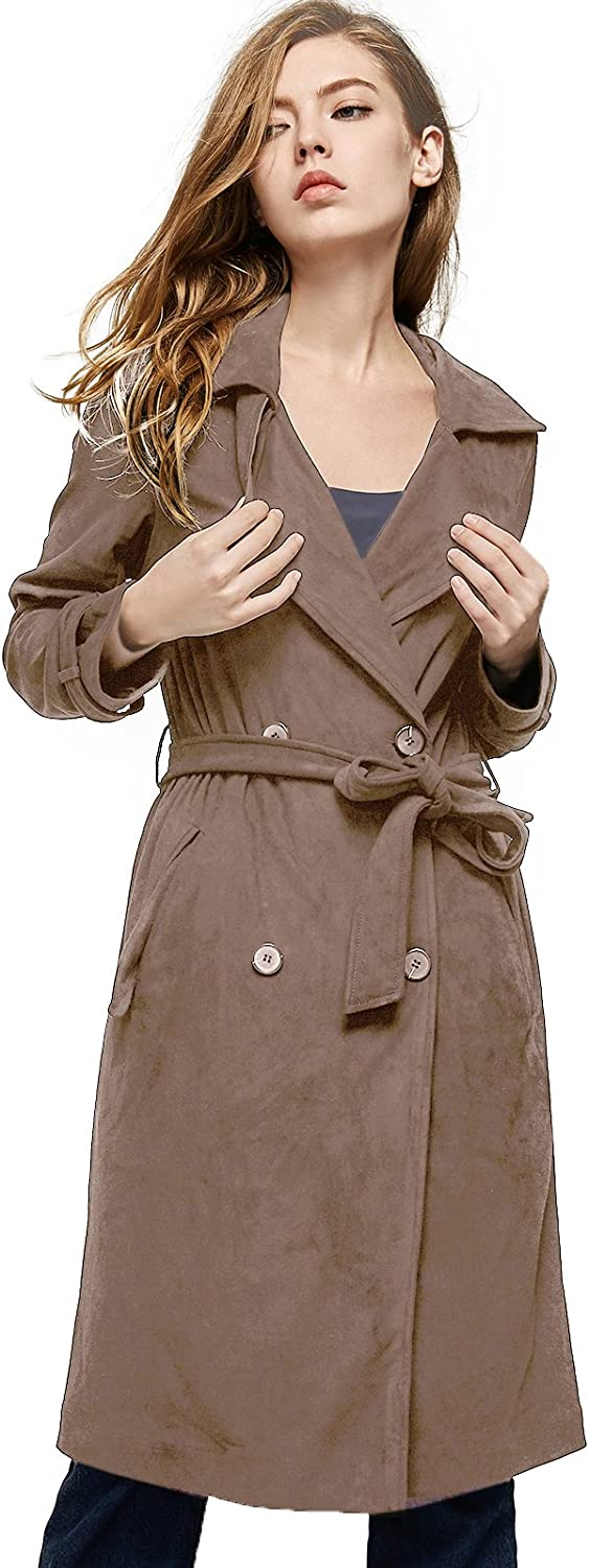 Escalier Women`s Faux Suede Trench Lapel Leather Long Double Breasted Coat with Belt