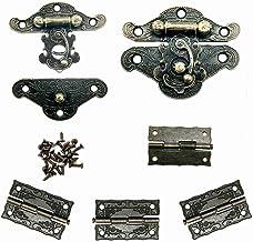 WJUAN 2 stuks retro antiek design meubelkast decoratieve sieradendoos vergrendeling en 4 stuks vintage scharnieren (een dr...
