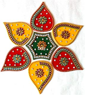 BDS CREATIONS 120 Red Designer Handcrafted Decorative Diwali Rearrangable Kundan Rangoli for Floor Decoration Set of 7pcs