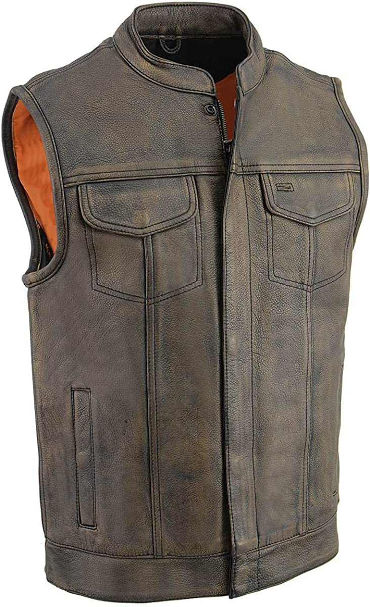 Milwaukee Leather MLM3513 Men's Distressed Grey Open Neck Snap/Zip Club Style Leather Vest