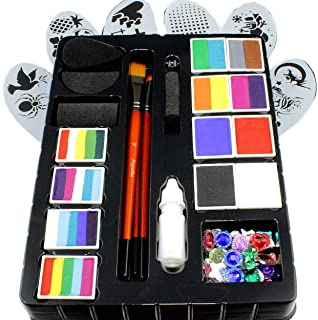 Face Paint Kit for Kids by Kryvaline Professionals with Stencils, Brushes and Biodegradable Glitters in Spill Proof Bottle Plus Skin Jewels