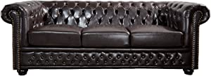 DuNord Design Chesterfield - Sofá de 3 plazas (Piel sintética, 210 cm), Color marrón Oscuro