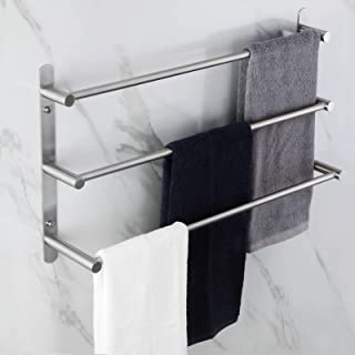 KOKOSIRI Bath Towel Bars Stainless Steel Bathroom 3-Tiers Ladder Towel Rack Wall Mount Towels Shelves, Brushed Nickel, B50...