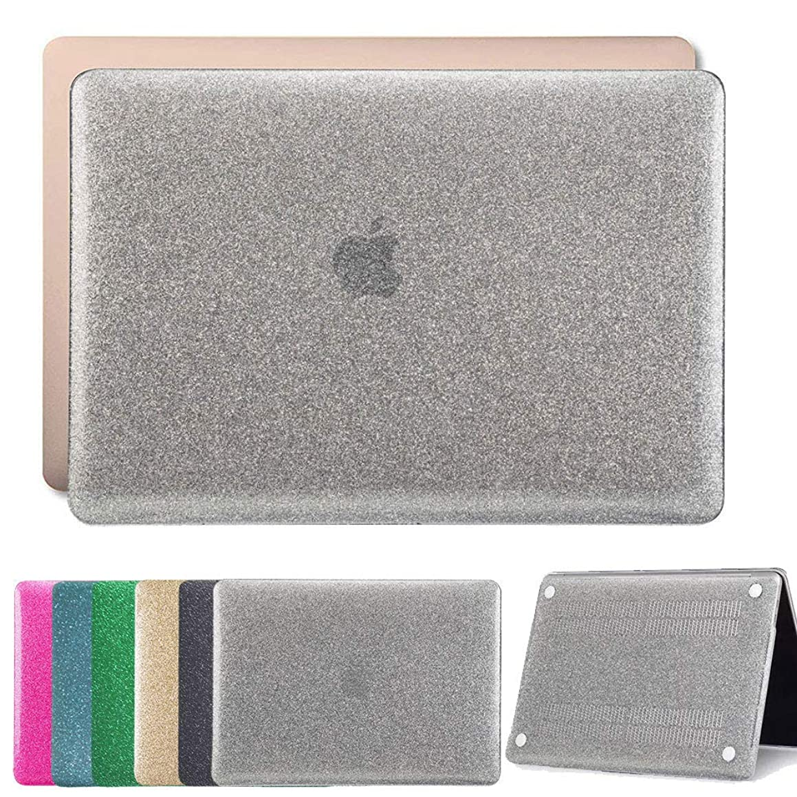 Bizcustom Bling Front Back Silvery Case for MacBook Air 11/11.6 No-Retina 2010-2015 A1465/A1370 Hard Crystal Sparkle Shiny Glitter See-Through Shell and Keyboard Cover