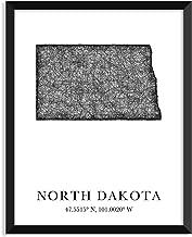 NORTH DAKOTA Map, longitude, latitude - Unframed art print poster or greeting card