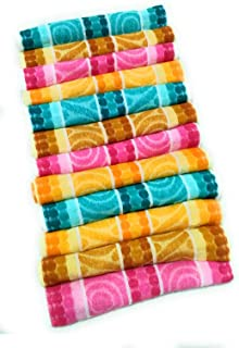 Cotton Hand Towel 300 GSM (Set of 12, Multicolour)  Bathroom Towel Absorbent Small Towels for Hand,Face,Kitchen and Bath
