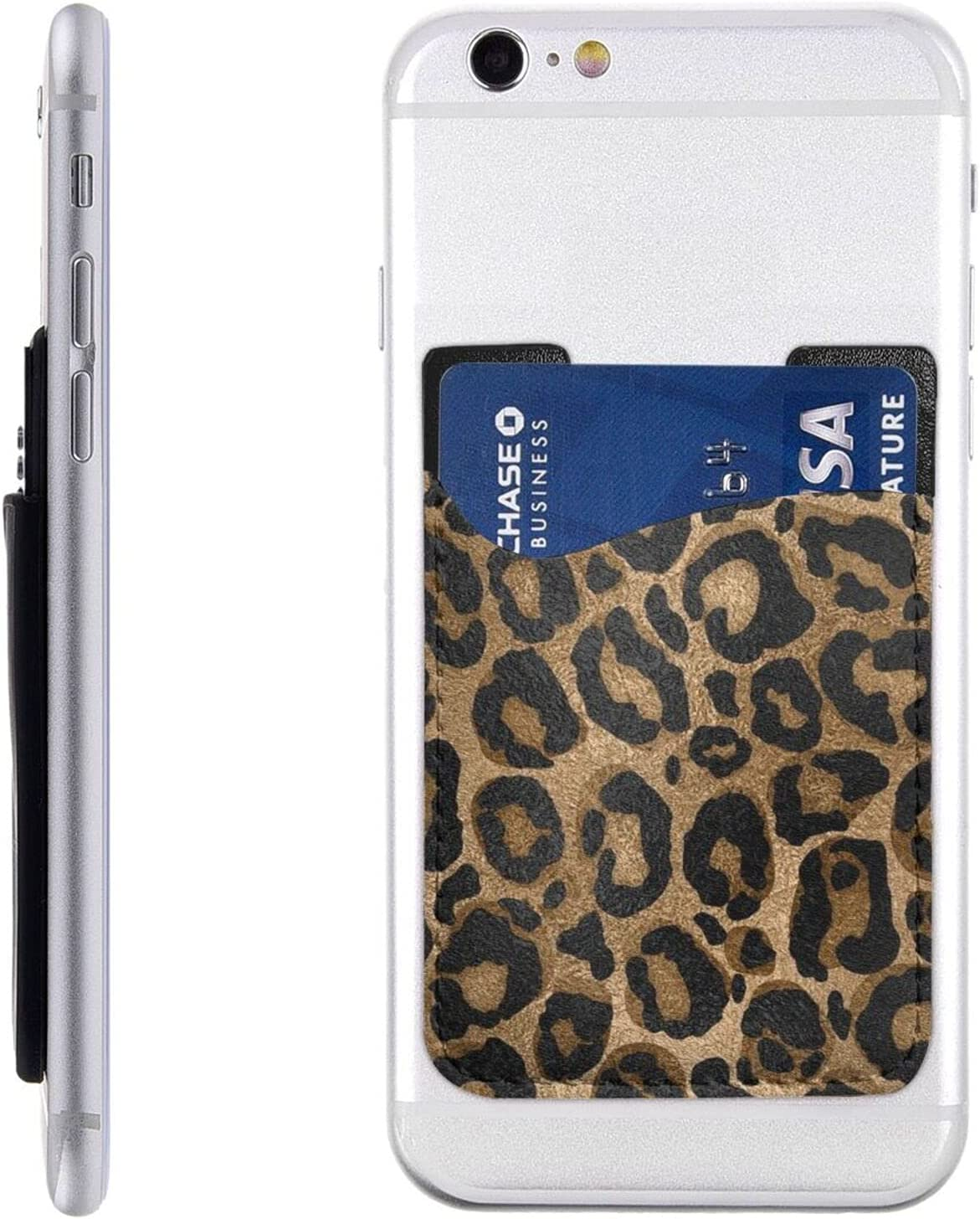 Black Gold Leopard Phone Card Holder,Pu Leather Credit Card Wallet Phone Case Pouch Sleeve Pocket for All Smartphones