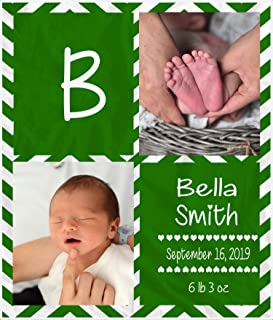 Zegogo Personalized Baby Milestone Blankets with Name Custom Photo Throw Blanket with Picture Printed Customized Fleece Blankets for Boys Girls (Green)