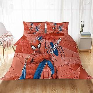 Spiderman Marvel Incredible Parure de lit pour enfant fille et garçon Impression numérique 3D Microfibre Housse de couette...