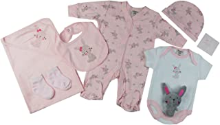 Baby-Girls Bunny Theme Presents Gifts for Newborn Baby Girls Toddler Unisex Cute Clothing Sets Sleepsuit Vest Bib Hat Outf...