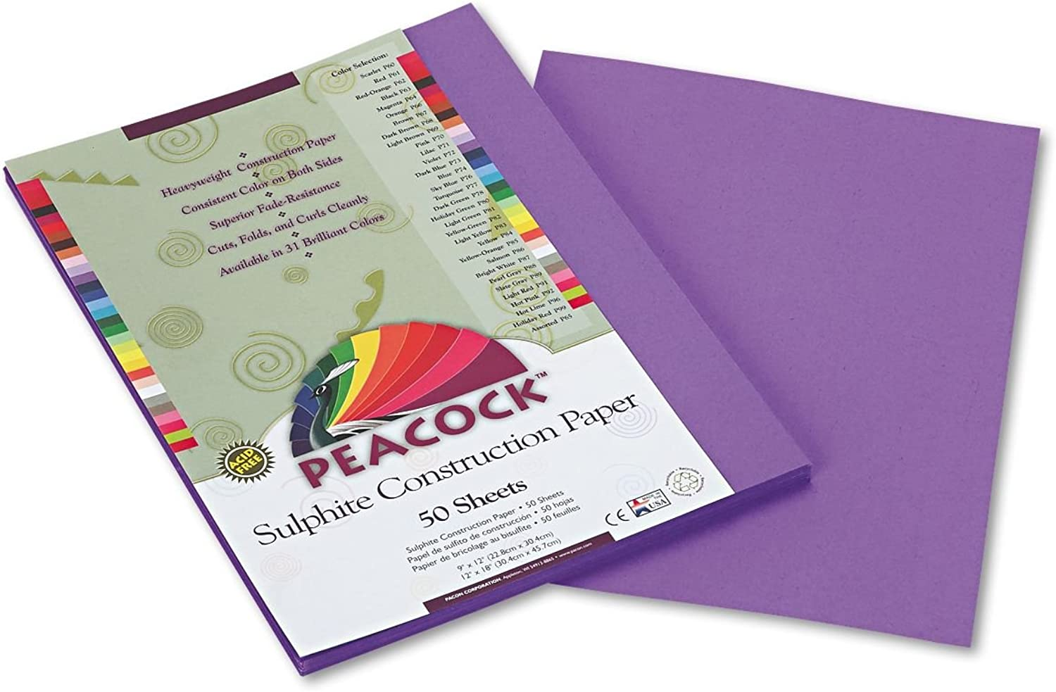 Peacock Sulphite Construction Paper, 76 lbs., 9 x 12, lila, 50 Sheets Pack