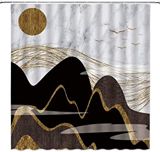 BCNEW Marble Shower Curtain European Style Black and Gold Geometric Abstraction Home Polyester Fabric Decor 70�70 Inch with Hook Hole