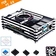 Smraza Case for Raspberry Pi 4 B, Case with Cooling Fan, Heatsinks for Raspberry Pi 4 Model B (RPI 4 Board Not Included) - Black and Clear