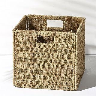 Sepsg Boîte de Rangement tissée de Cube de Panier de Stockage d'osier de Pliage avec des poignées d'insertion