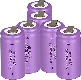 Odstore 1.2V 2200mAh Ni-Cd Tap Sub C SC Rechargeable Battery Batteries (6PCS, Purple)