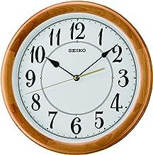 ساعة حائط هادئة خشبية مزودة بعقارب من سيكو، موديل Qxa699bls