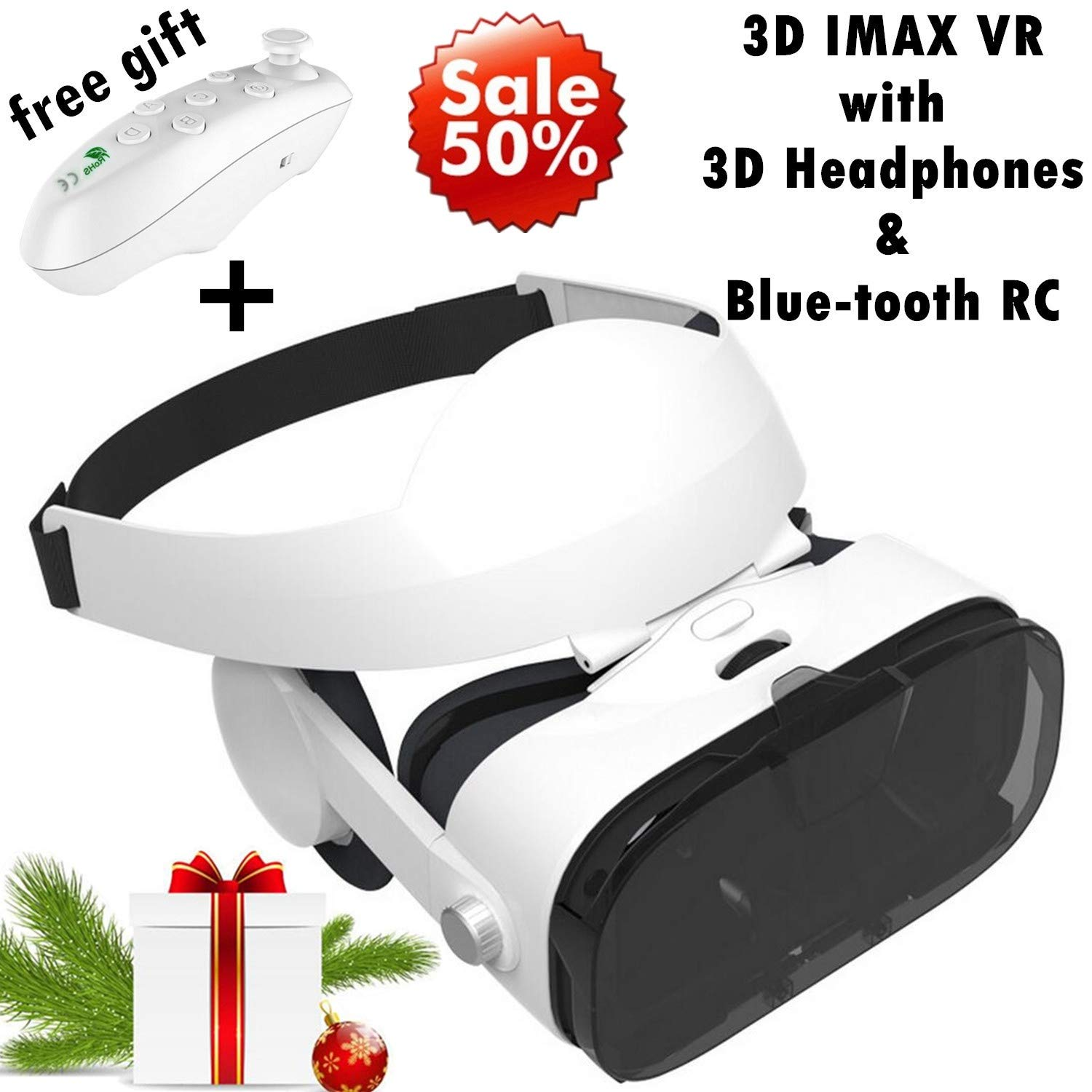 3d Vr Headset Virtual Reality Goggles W Over Ears Hifi Headphones For Iphone 11 Pro Xs Max Xr X 8 7 6s Plus Samsung Galaxy Note 10 9 8 5 4 3 S10