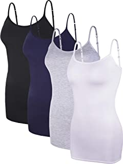Boao 4 Pieces Women's Basic Camisole Adjustable Long Spaghetti Strap Tank Top Solid Modal Stretchy Tanks