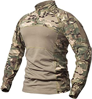 ReFire Gear Men's Tactical Military Combat Shirt Cotton Army Assault Camo Long Sleeve T Shirt