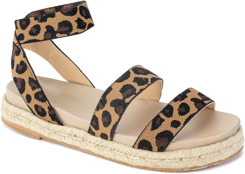 RF ROOM OF FASHION Women's Ankle Elastic Strap Espadrille Flatform Slide On Sandals