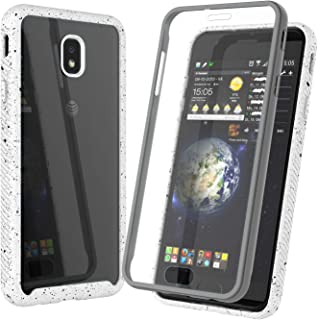 Njjex Case Compatible with Samsung Galaxy J3 2018/J3 Eclipse 2/J3 Orbit/J3 Achieve/Express Prime 3/Amp Prime 3/J3 Emerge/J3 V 3rd Gen/J3 Aura/J3 Star, [Npatt] Clear PC Back TPU Bumper Cover [White]