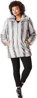Roamans Women's Plus Size Short Faux-Fur Coat