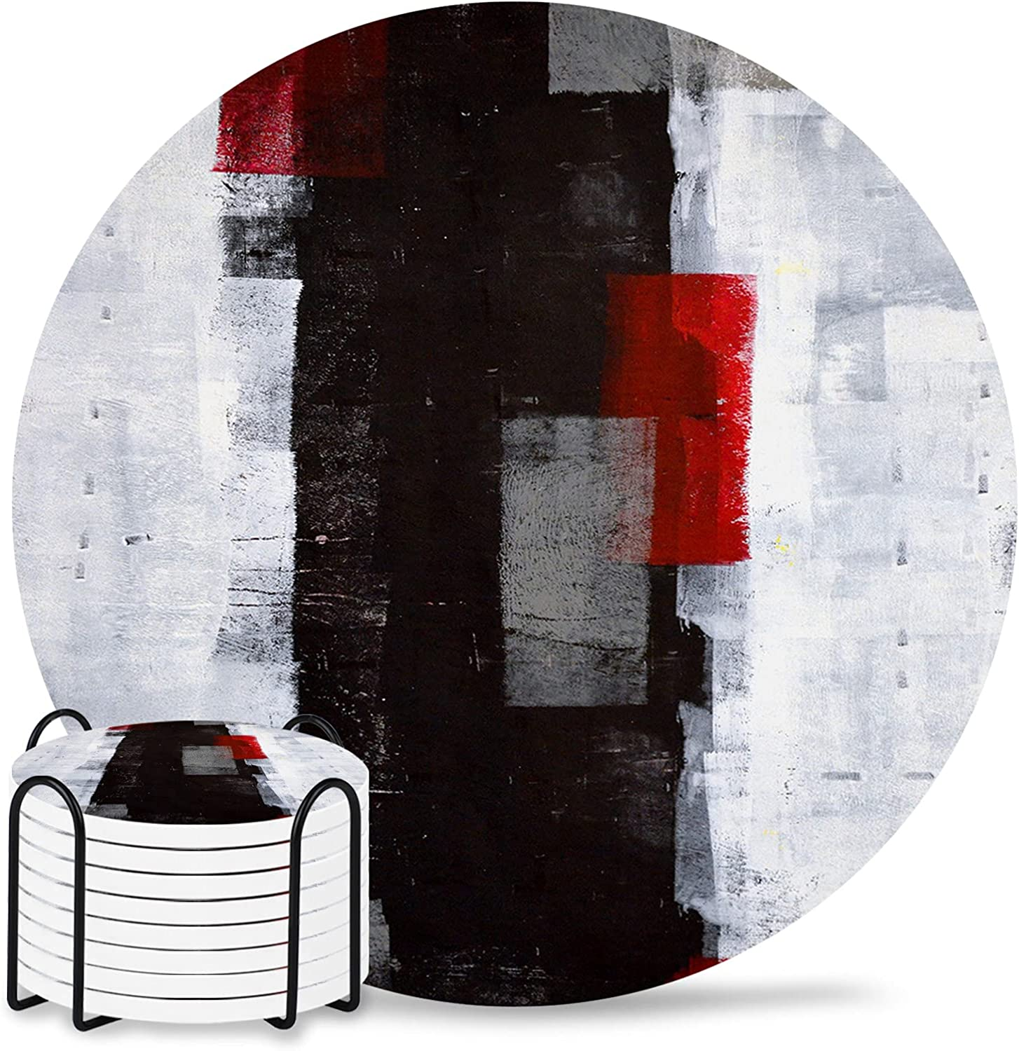 Finally resale start Abstract Coaster for Drinks 4 Inch Drink Pad Absorbent Ceramic Ranking TOP2