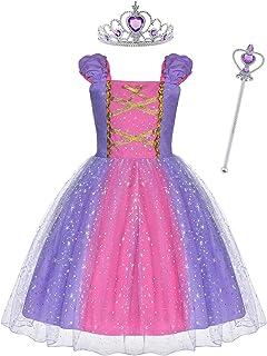 ACWOO Prinsessenjurk voor Meisjes, Rapunzel Kostuum met Kroon en Toverstaf, Meisjesjurk kinderkostuum Feestjurk Luxe Parti...