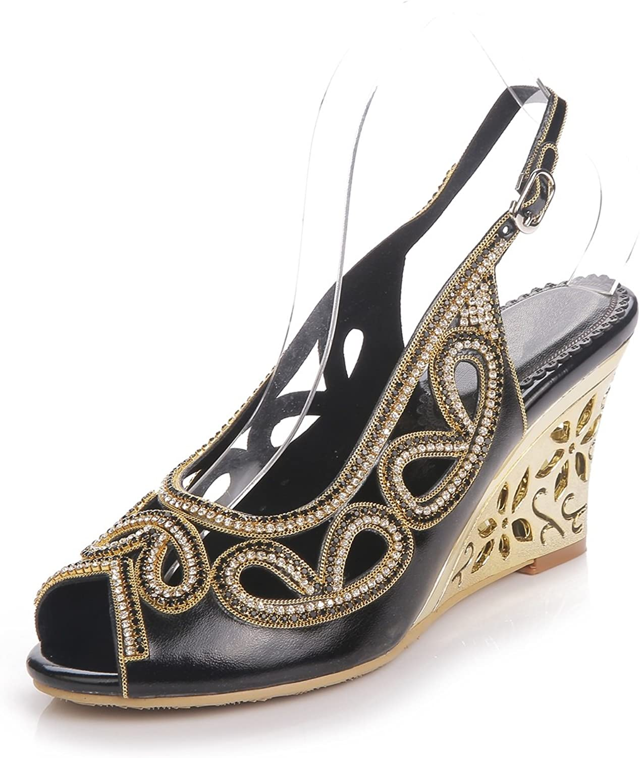Women's shoes Fish Mouth shoes Spring Summer Fashion Boots Wedge Heel Sandals Open Toe Rhinestone Crystal Sparkling Glitter Buckle for Dress Party