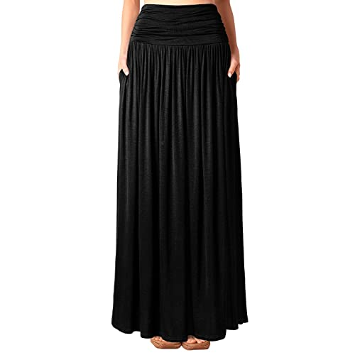 7d466cc402ba8 DJT Women's Pleated High Waist Stretchy Plain Jersey Flared Swing Pocket Long  Maxi Skirt