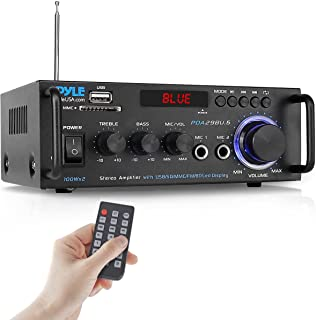 Wireless Bluetooth Stereo Power Amplifier - 200W Dual Channel Sound Audio Stereo Receiver System w/RCA, USB, SD, MIC in, F...