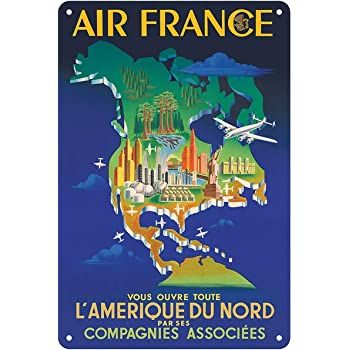 KELLEN WHITEHEAD Metal Vintage Retro Shabby-Chic TIN Sign AIR France Paris Londres Wall Plaque 3042 Affiche de d/écoration dr/ôle de Panneau de Mur en m/étal Art