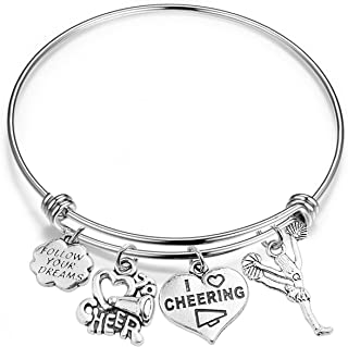 Cheer Bracelet Girls Cheerleading Expandable Wire Bangle Gift for Cheerleaders/Cheer Teams/Cheerleading Coaches