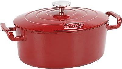 Sitram Sitra Bella Cast Iron Dutch Oven, 6.7 Qt, Red Glossy
