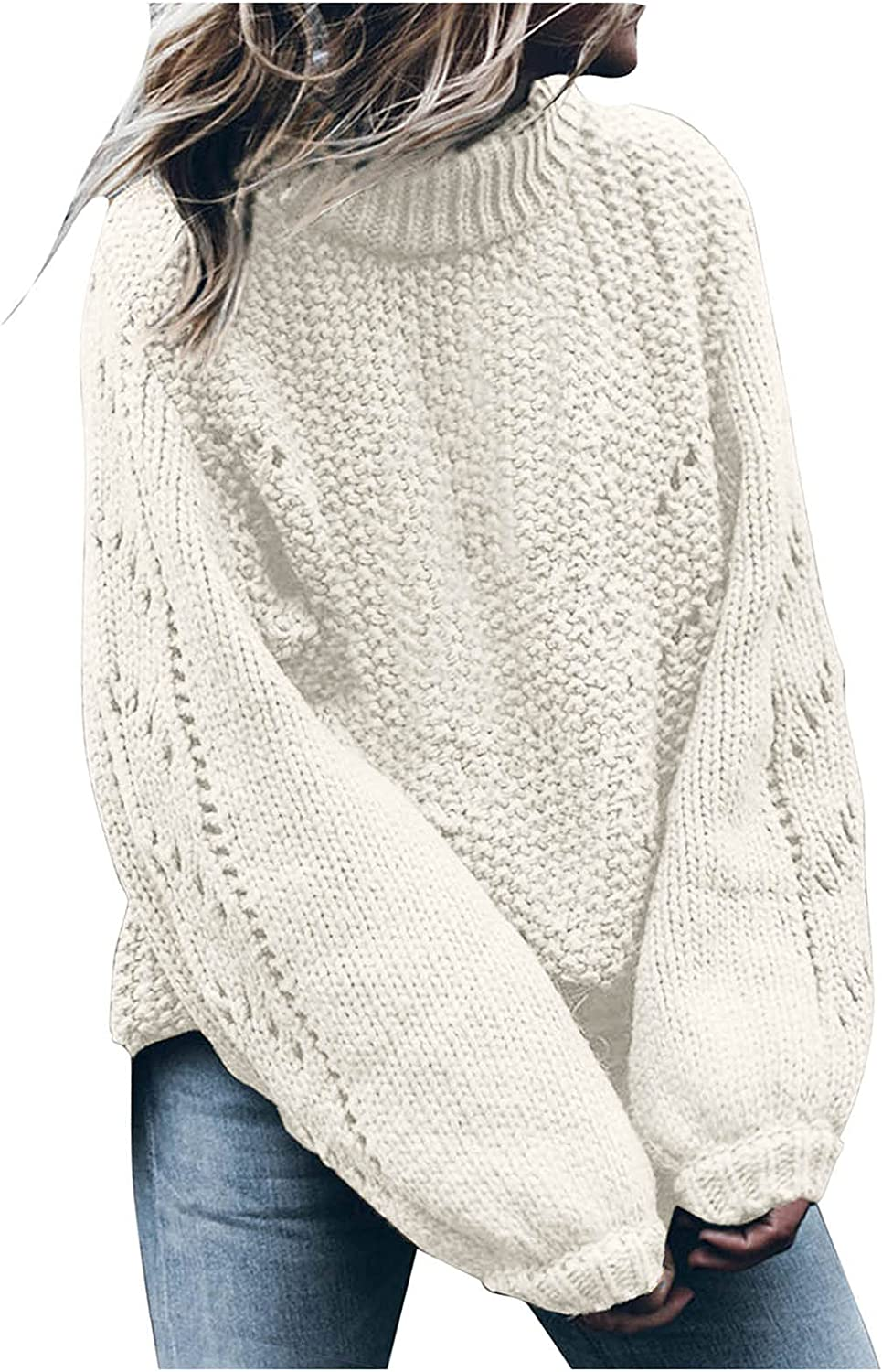 NRUTUP Winter Sweater for Women Casual Turtleneck Solid Color Long Sleeve Hollow Loose Fit Pullover Sweater Blouses