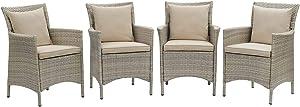 Modway EEI-4028-LGR-BEI Conduit Outdoor Patio Wicker Rattan Dining Armchair Set of 4, Light Gray Beige